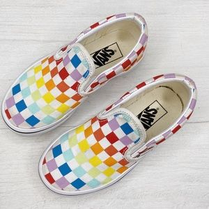 Vans | Kids Rainbow Checkered Slip-on Shoes Sz. 11